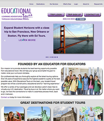 Preview of new Educational Tours Website